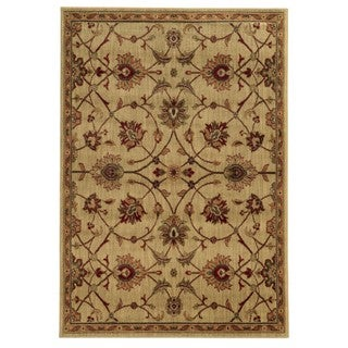 Traditional Floral Beige/ Tan Rug (5'3 x 7'3)