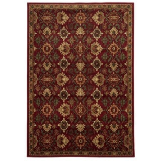 Traditional Floral Red/ Green Rug (5'3 x 7'3)