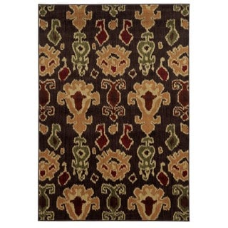 Tribal Ikat Brown/ Gold Rug (5'3 x 7'3)