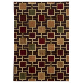 Geometric Block Brown/ Beige Rug (5'3 x 7'3)