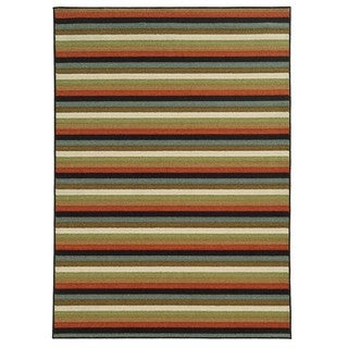 Loop Pile Casual Stripe Multi Nylon Rug (6'7 x 9'3)