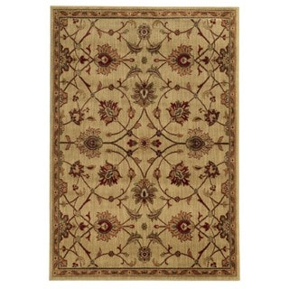 Traditional Floral Beige/ Tan Rug (6'7 x 9'3)