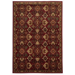 Traditional Floral Red/ Green Rug (6'7 x 9'3)