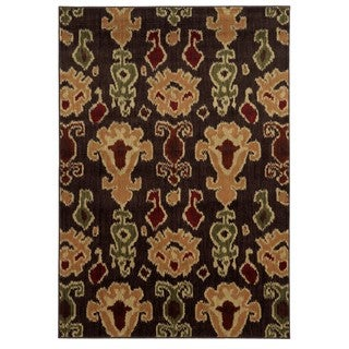 Tribal Ikat Brown/ Gold Rug (6'7 x 9'3)