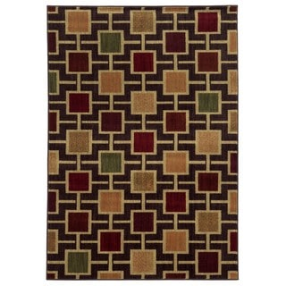 Geometric Block Brown/ Beige Rug (6'7 x 9'3)