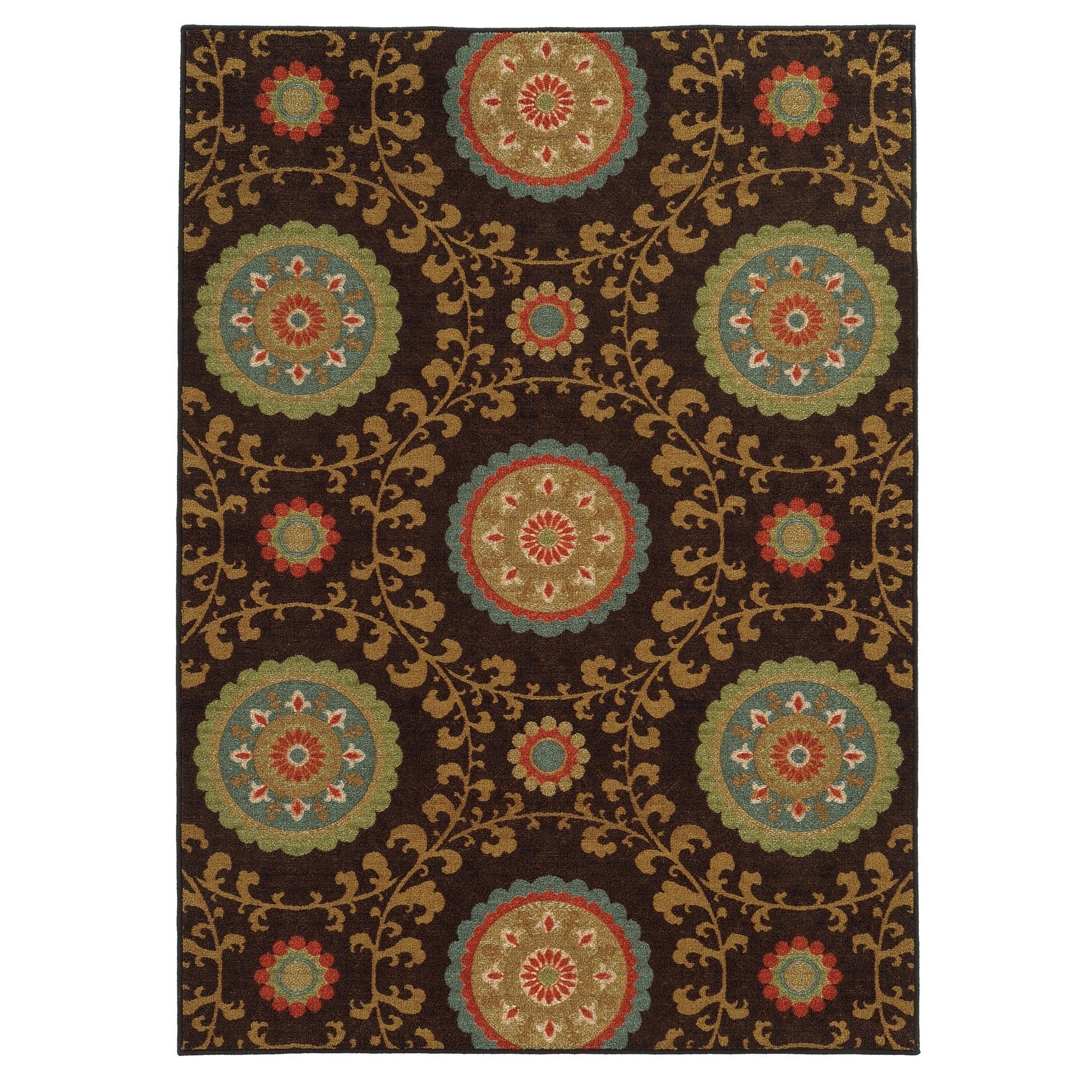Style Haven Loop Pile Over Scale Floral Brown/ Multi Nylon Rug (7'10 x 10') at Sears.com
