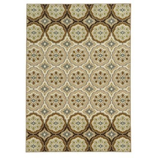 Loop Pile Casual Floral Ivory/ Tan Nylon Rug (7'10 x 10')