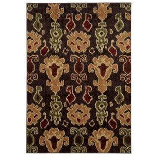 Tribal Ikat Brown/ Gold Rug (7'10 x 10')