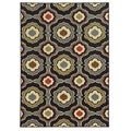 Loop Pile Abstract Black/ Grey Nylon Rug (2'2 x 3'9)