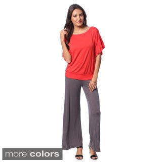 24/7 Comfort Apparel Women's Banded Dolman Top with Bonus Wide Leg Pants