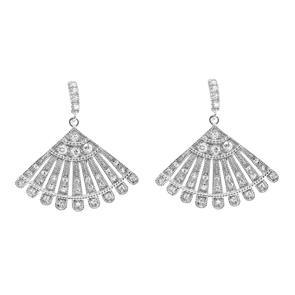 Sterling Silver Fan Clear Cubic Zirconia Dangle Earrings