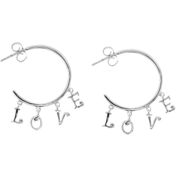 Sterling Silver Love Dangle Hoops