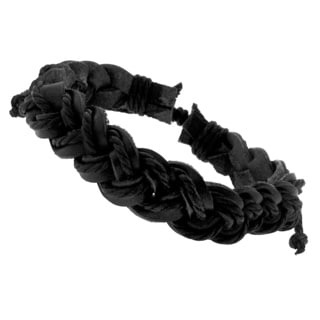 Black Leather Men's Woven Bracelet