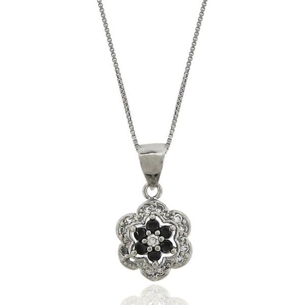 Sterling Silver Cubic Zirconia Flower Stud Necklace