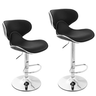 Adeco Black/ Chrome Curved Adjustable Barstool Chair Set