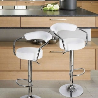 Adeco Modern White Adjustable Hydraulic Lift Barstool Chair Set