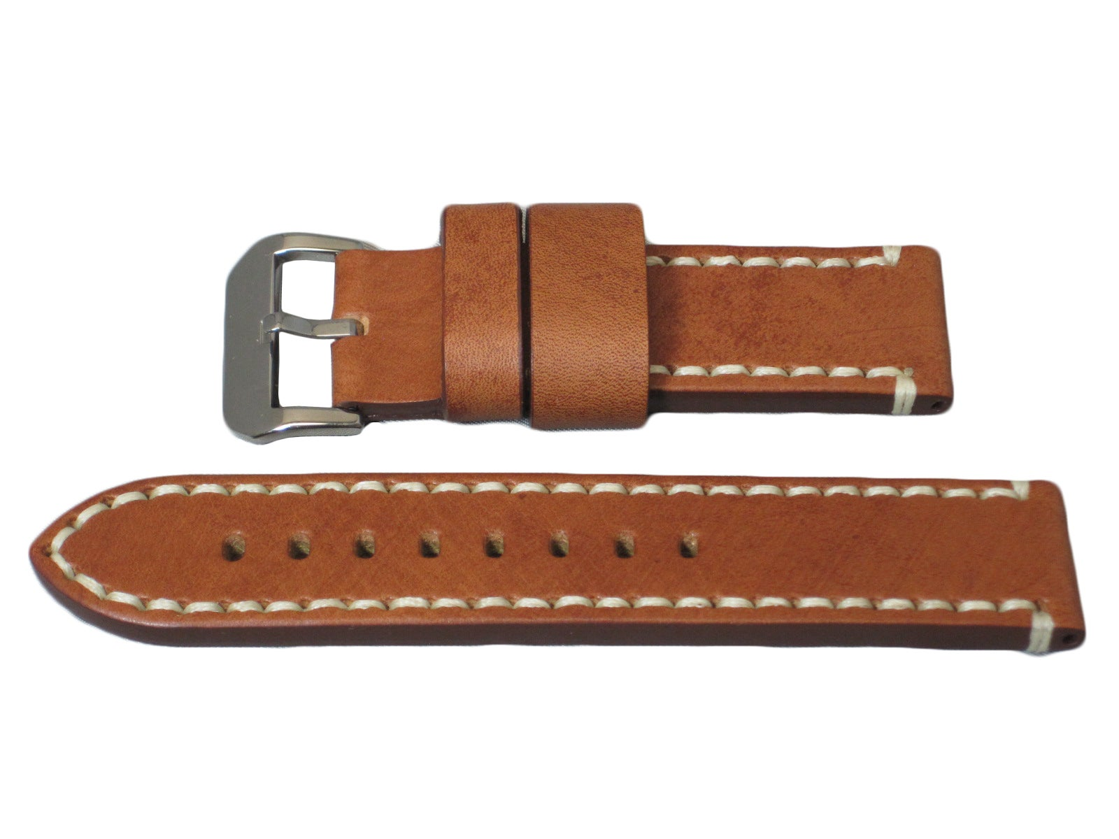 Hadley Roma Panerai Style Genuine Leather Watch Strap with Contrast Hand Stitching