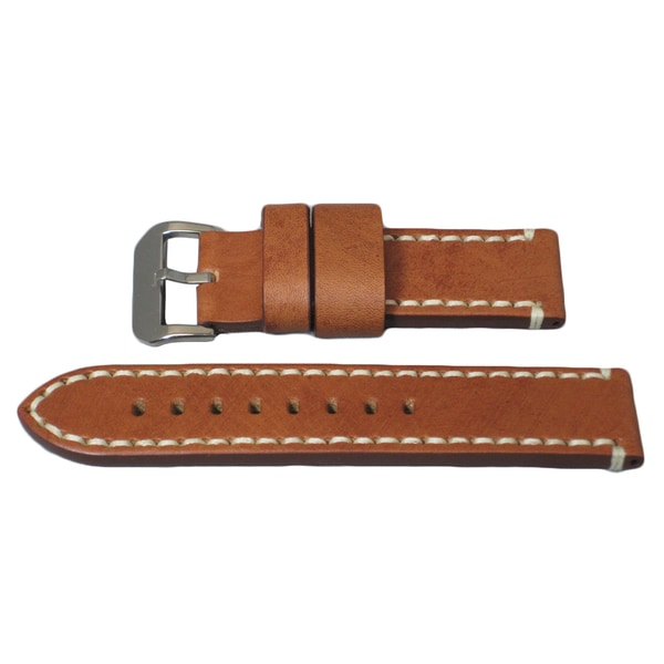 Hadley Roma Panerai® Style Genuine Leather Watch Strap with Contrast Hand Stitching