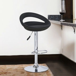 Adeco Black Round Hydraulic Lift Adjustable Barstool Chairs (Set of 2)