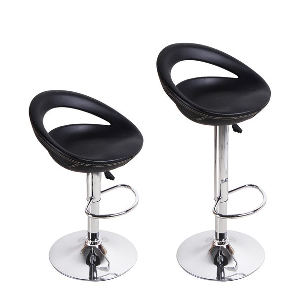adeco black round hydraulic lift adjustable barstool chairs set of 2