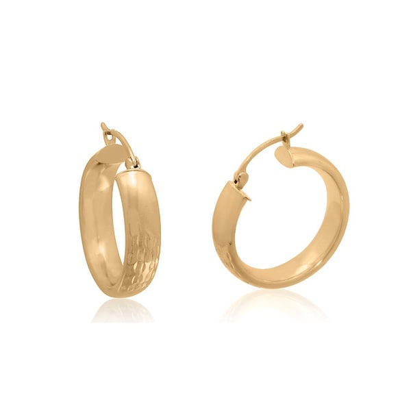 Gioelli 14k Yellow Gold Diamond-cut Saddle Back Hoop Earrings