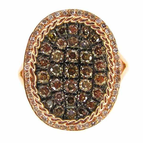 Luxe 14k Rose Gold 1ct TDW Brown Diamond Oval Ring