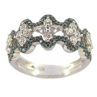 Luxe 18k White Gold 1ct TDW Blue and White Diamond Floral Band Ring (G-H, VS1-VS2)