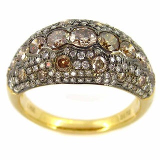 Luxe 18k Yellow Gold 1 3/4ct TDW Brown Diamond Ring (J-K, I1-I2)