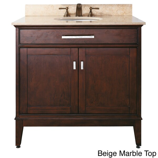Avanity Madison 36-inch Single Vanity in Light Espresso Finish with Sink and Top