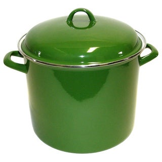Large 12-quart Garden Green Enamel on Steel Stock Pot