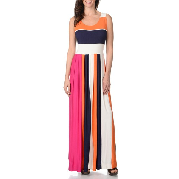Chelsea And Theodore Women S Colorblock Striped Maxi Dress Chelsea