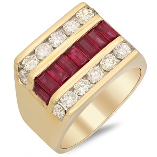 14k Gold Men's 2ct TDW Diamond and Ruby Ring (F-G, SI1-SI2)