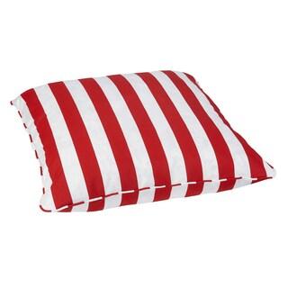 Striped Red Corded Outdoor/ Indoor Large 28-inch Floor Pillow