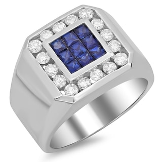 14k White Gold Men's 1ct TDW Diamond and Sapphire Ring (F-G, SI1-SI2)