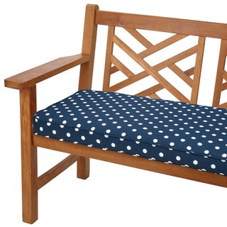 Navy Dots 48-inch Indoor/ Outdoor Corded Bench Cushion