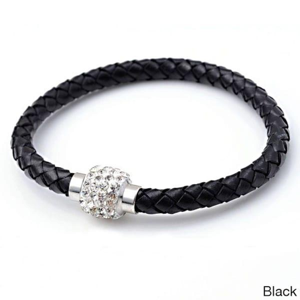 Braided Leather Rhinestone Crystal Clasped Bangle Bracelet