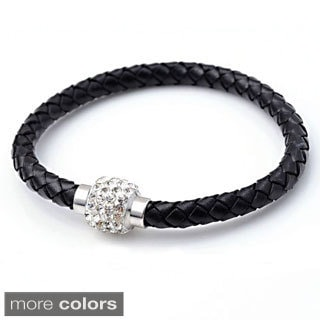 Braided Leather Rhinestone Crystal Clasped Bangle Bracelet