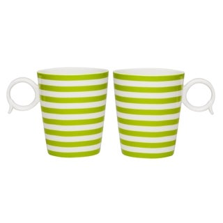 Red Vanilla Freshness Olive Lines 12-ounce Mugs (Set of 2)