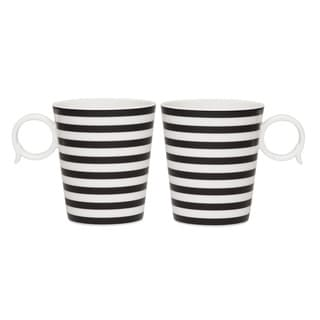 Red Vanilla Freshness Black Lines 12-ounce Mugs (Set of 2)