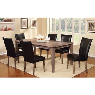 Furniture of America Edge 9-piece Dining Set with Extension Table, Wire Brushed Oak