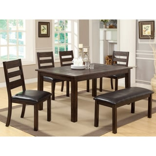 Furniture Of America Edmonti 6-piece Natural Wood Grain Finish Dining Set with Bench