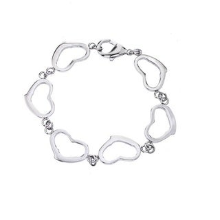 Stainless Steel Women's Heart Link Bracelet