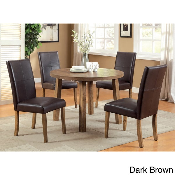 Of America Seline Weathered Elm 5 Piece Round Table Dining Set