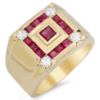 14k Yellow Gold Men's 1/2ct TDW Diamond and Ruby Ring (F-G, SI1-SI2)