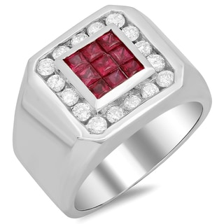 14k White Gold Men's 1ct White Diamond and Ruby Ring (F-G, SI1-SI2)
