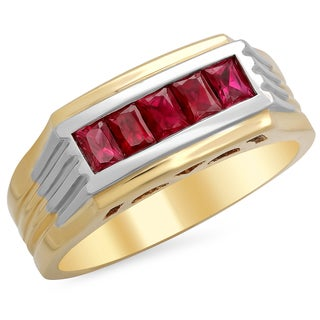 14k Two-tone Gold Men's Baguette-cut Ruby Ring (F-G, SI1)