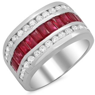 14k White Gold Men's 1 1/2ct White Diamond and Ruby Ring (F-G, SI1-SI2)