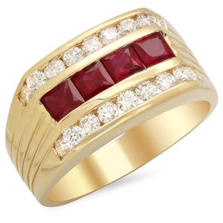 14k Gold Men's 4/5ct TDW White Diamond and Channel-set Ruby Ring (F-G, SI1-SI2)