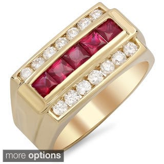 14k Gold Men's 3/4 ct TDW White Diamond and 1 1/4 ct Channel-set Ruby Ring (F-G, VS1-VS2)