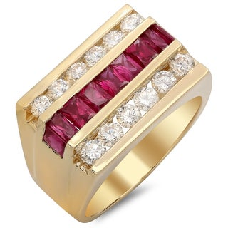 14k Yellow Gold Men's 1 1/2ct TDW Round-cut White Diamond and Baguette-cut Ruby Ring (F-G, SI1-SI2)